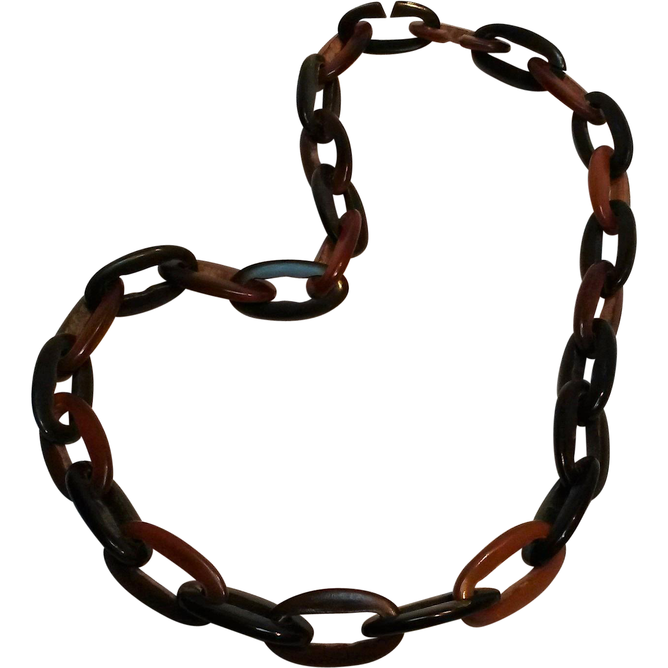 Carved horn link necklace