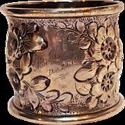 Shiebler sterling silver repousse napkin holder floral 1885