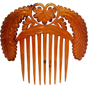 Carved celluloid back hair comb