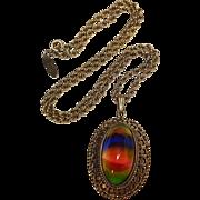 Whiting Davis rainbow glass cabochon pendant necklace