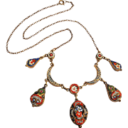 Italian mosaic necklace crescents drops early 1900's