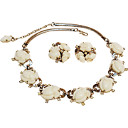Trifari fruit salad necklace earrings set milk glass stones pre 1955