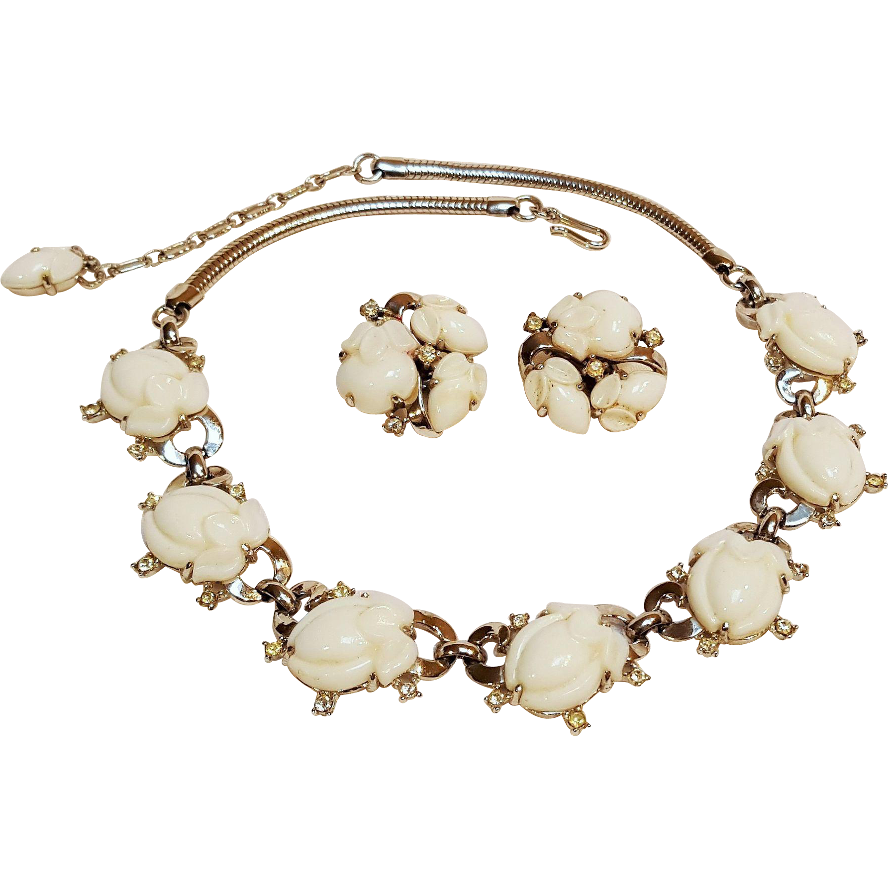 Trifari fruit salad necklace earrings set milk glass stones pre 1955