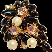 Glass cabochon ab rhinestone pin simulated pearl cha chas