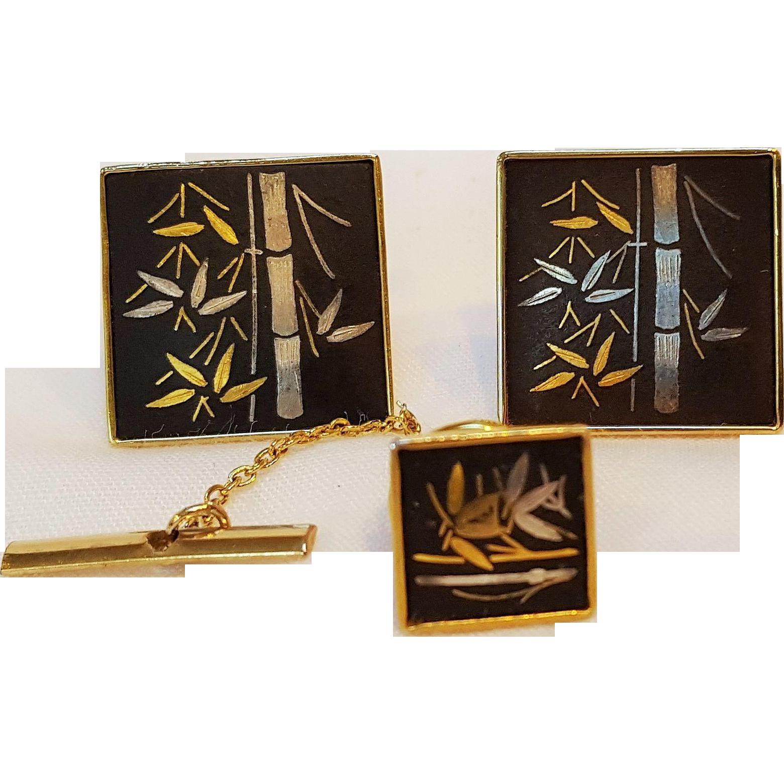 Amita damascene cufflinks tie tac bamboo motif Japan