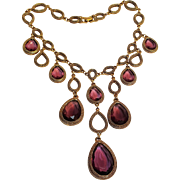 Goldette amethyst glass drop bib necklace