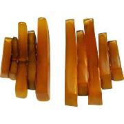 Monies horn slice clip earrings Modernist design