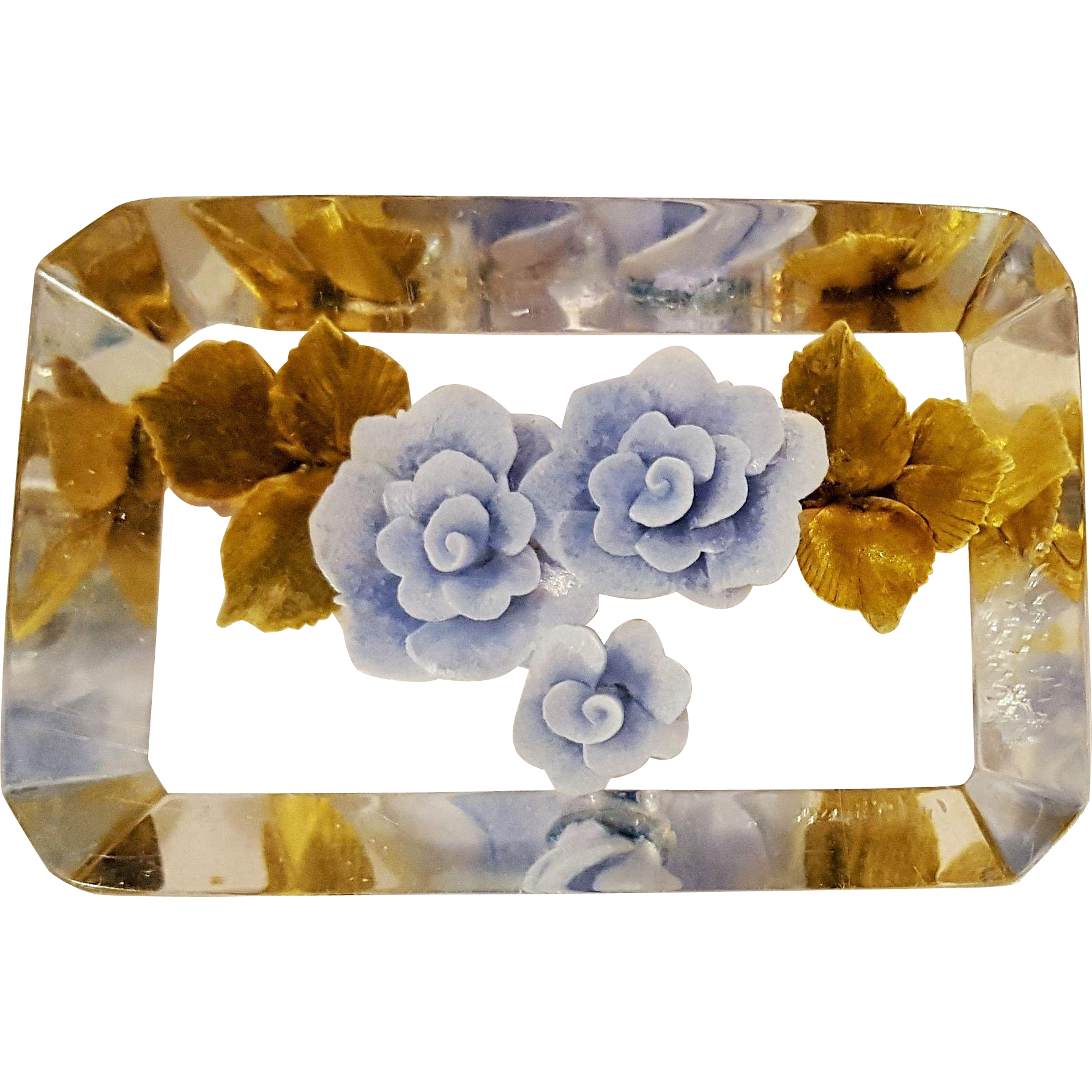 Reverse carved painted lucite pin blue roses