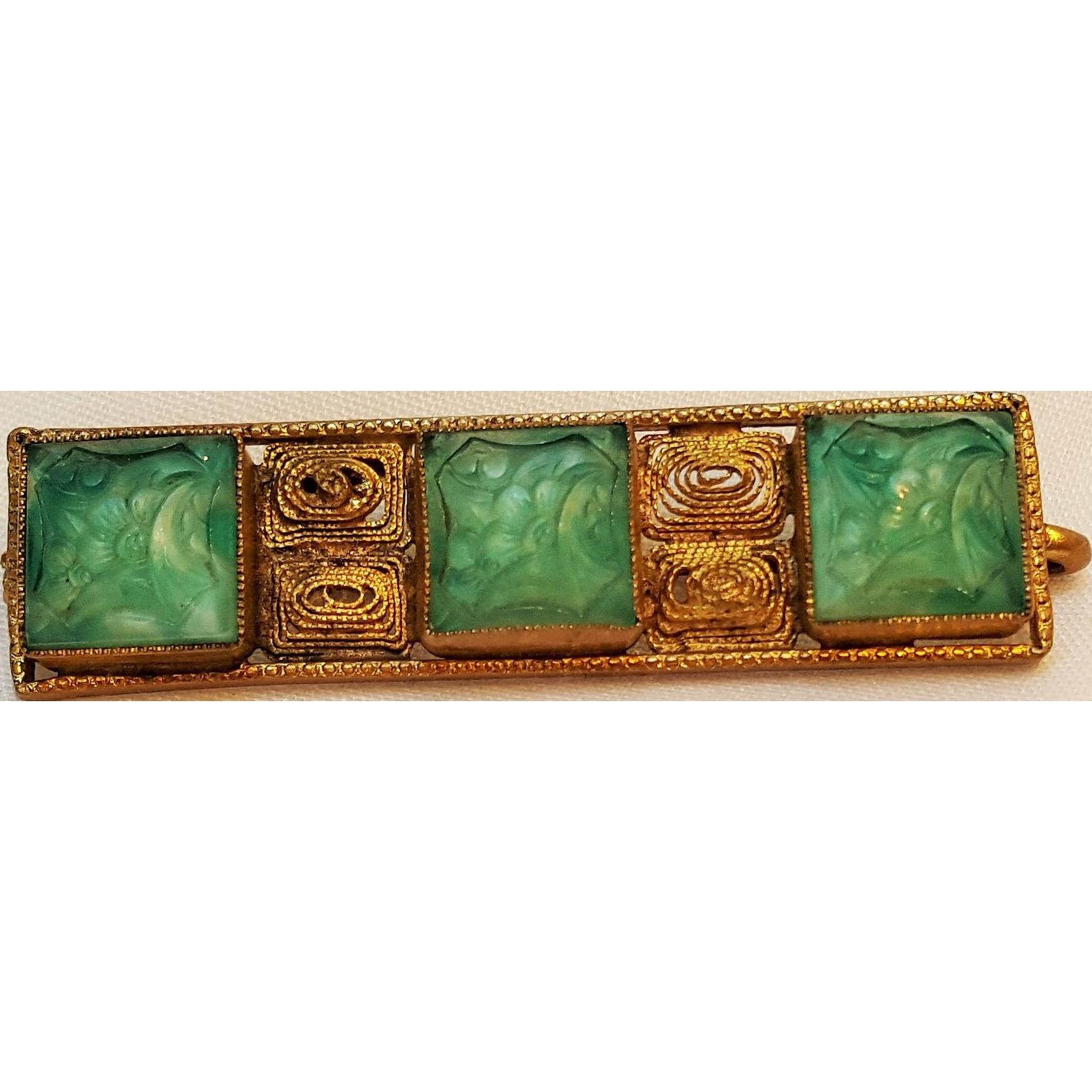 Czechoslovakia bar pin molded green glass filigree