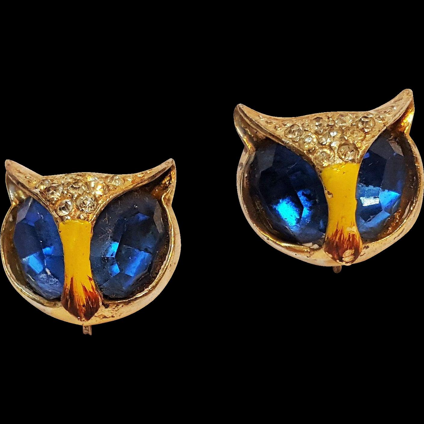 signed sterling enamel owl earrings by coro blue