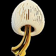 Monet mushroom pin white enamel