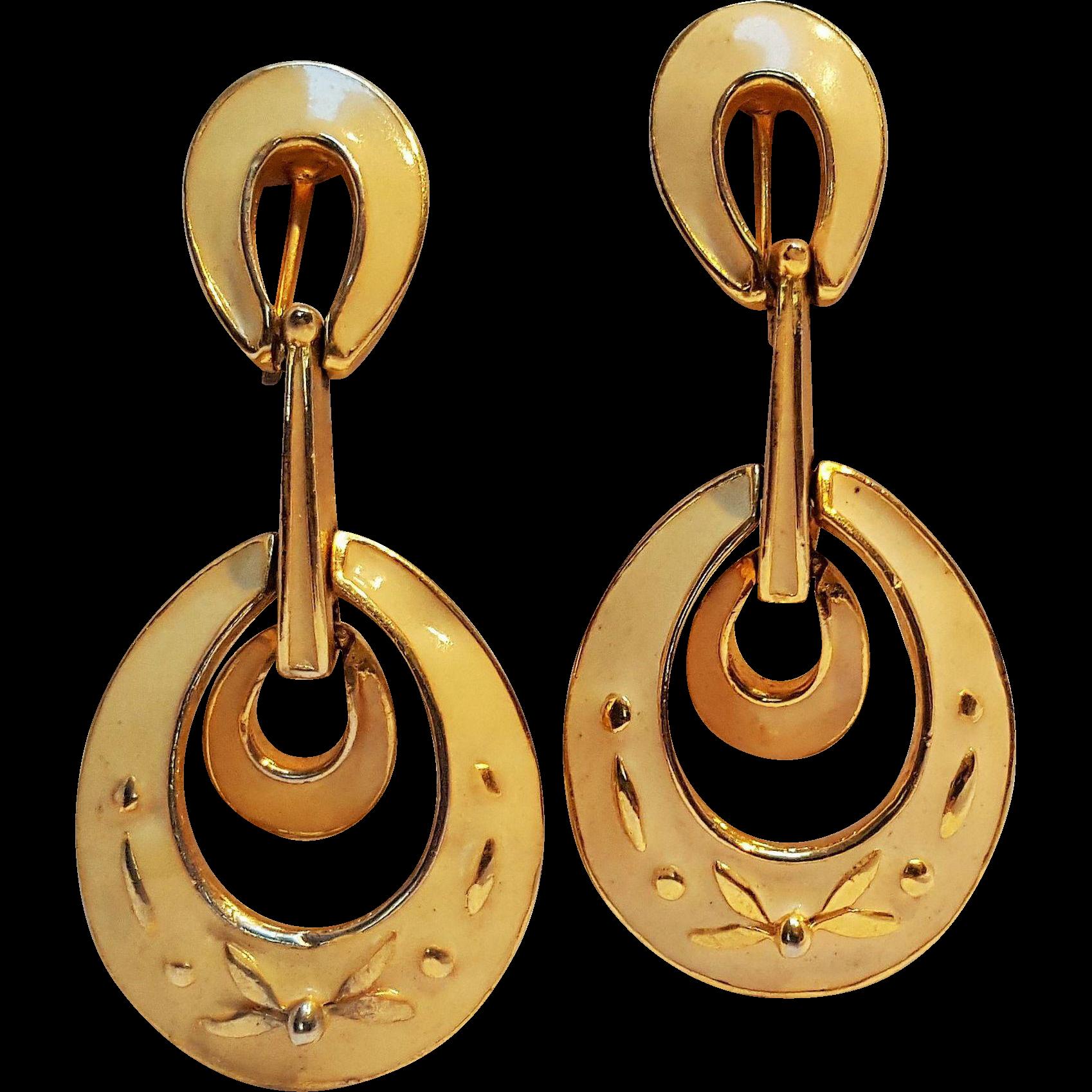 Polcini enamel drop earrings tan clip