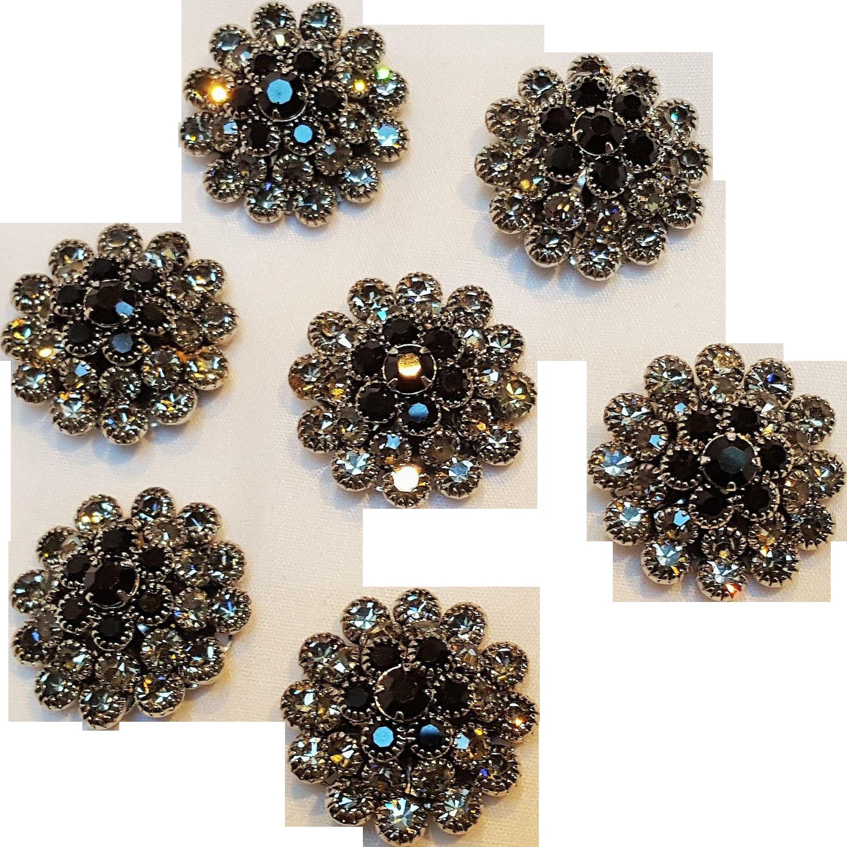 Rhinestone buttons black smoke gray prong set lot of seven