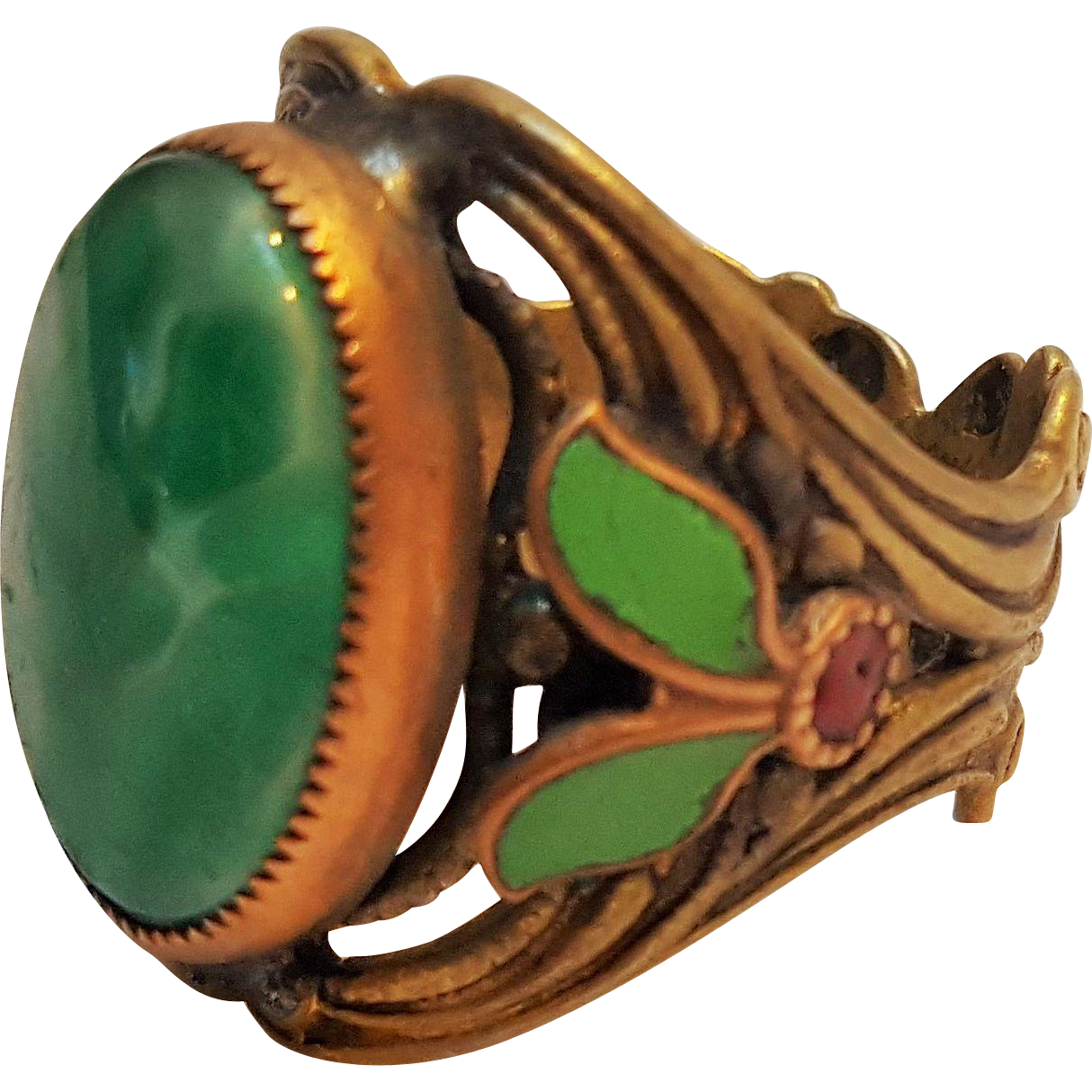 Rare Max Neiger style ring jade green Czech glass stone enamel
