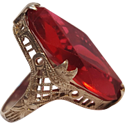 Edwardian sterling filigree ring red glass stone