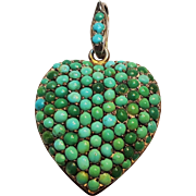 Pave turquoise puffy heart mourning locket pendant charm sterling