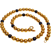 WRE Richards 12K gold filled lapis bead necklace