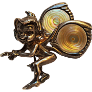Sterling silver elf pixie pin abalone shell wings