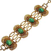 Czech gold on brass filigree bracelet Peking glass stones