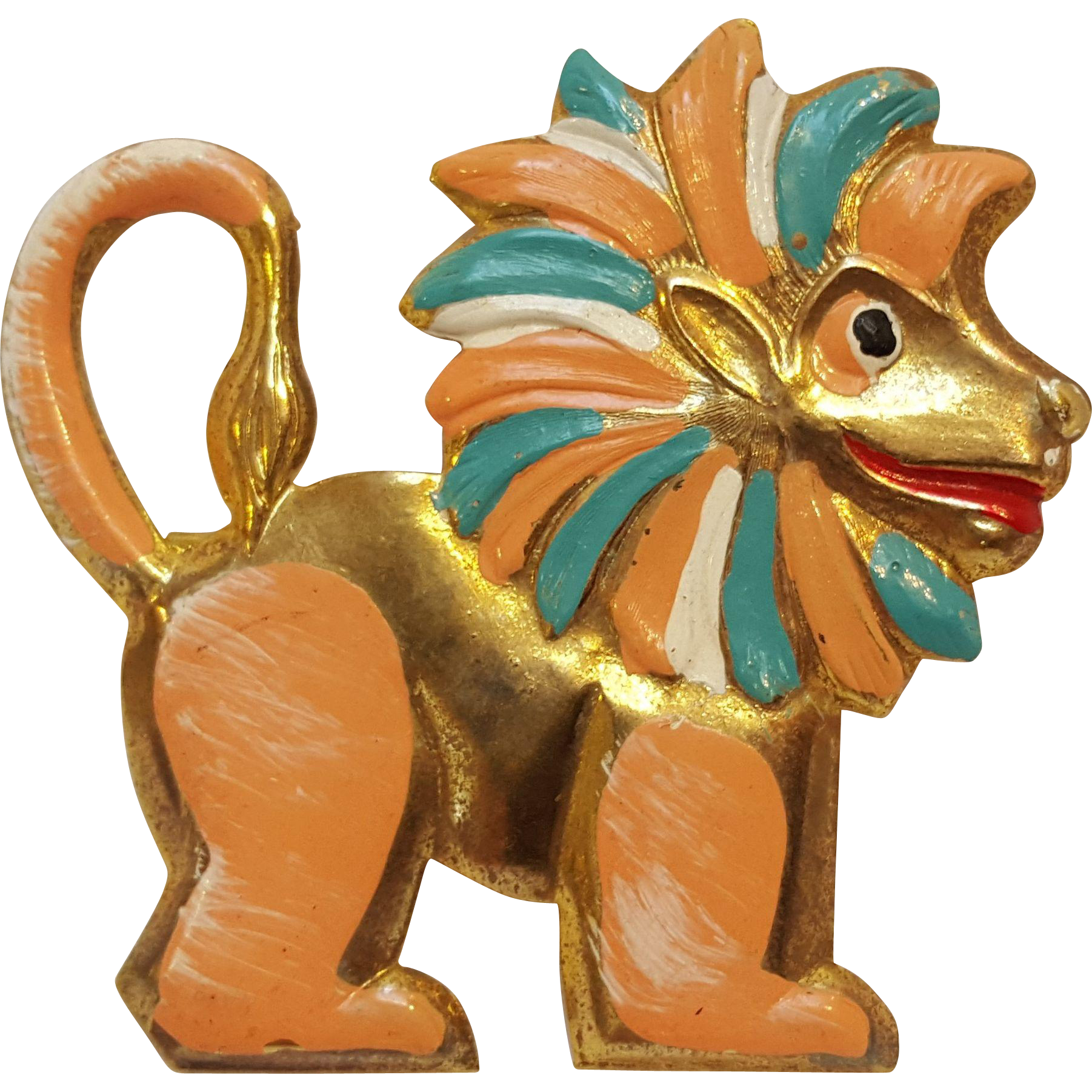Cold painted enamel lion pin