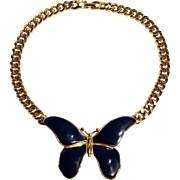 Les Bernard butterfly necklace blue enamel