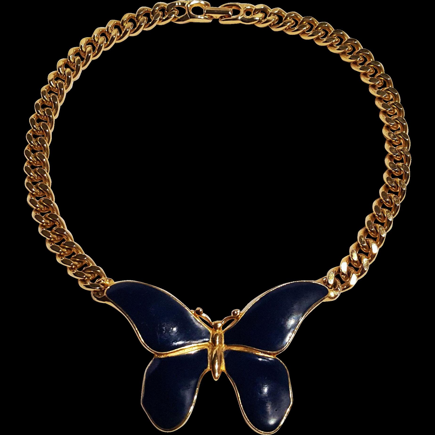 Les Bernard butterfly necklace blue enamel