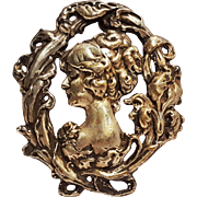 Art Nouveau cast sterling silver cameo sash pin