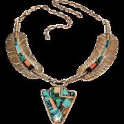 Raymond Ray Delgarito Navajo sterling intarsia inlay necklace arrowhead  feathers