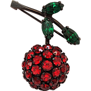 Warner cherry pin red rhinestone