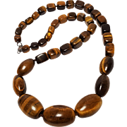 Tigers Eye stone bead necklace oversized chunky beads