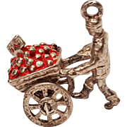 Sterling silver enamel mechanical apple cart charm