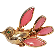 Trifari petalette bird pin pink poured glass wings
