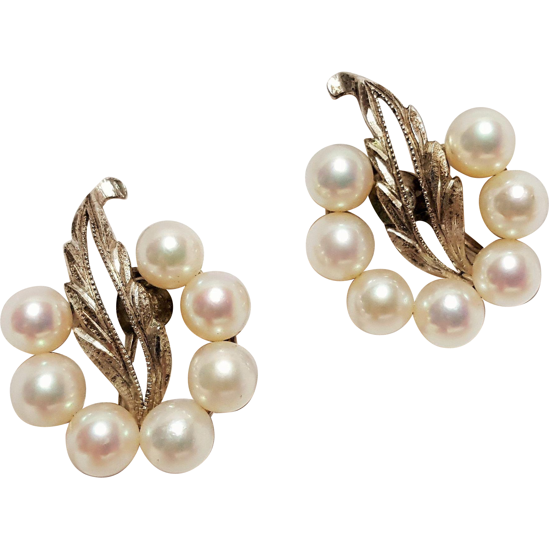 Mikimoto silver earrings Akoya pearls