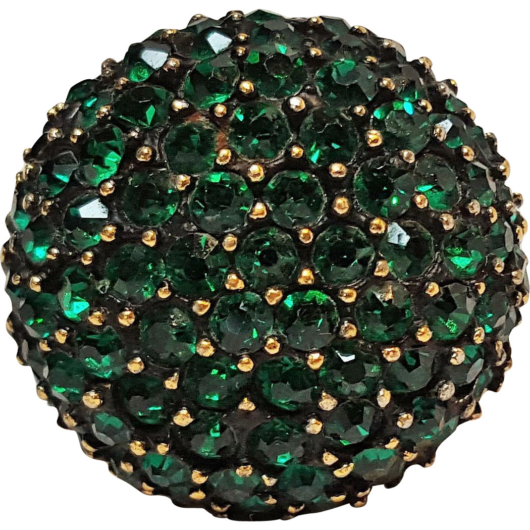 Vendome ring pave set green rhinestone dome