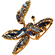 Weiss trembler butterfly pin blue rhinestone