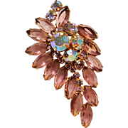 Rhinestone brooch purple navettes