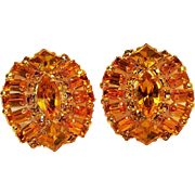Rhinestone clip earrings honey yellow baguette