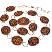 Benson Yazzie coral petit point cluster concho belt Navajo needle point