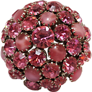 Warner pink rhinestone glass cabochon dome pin brooch