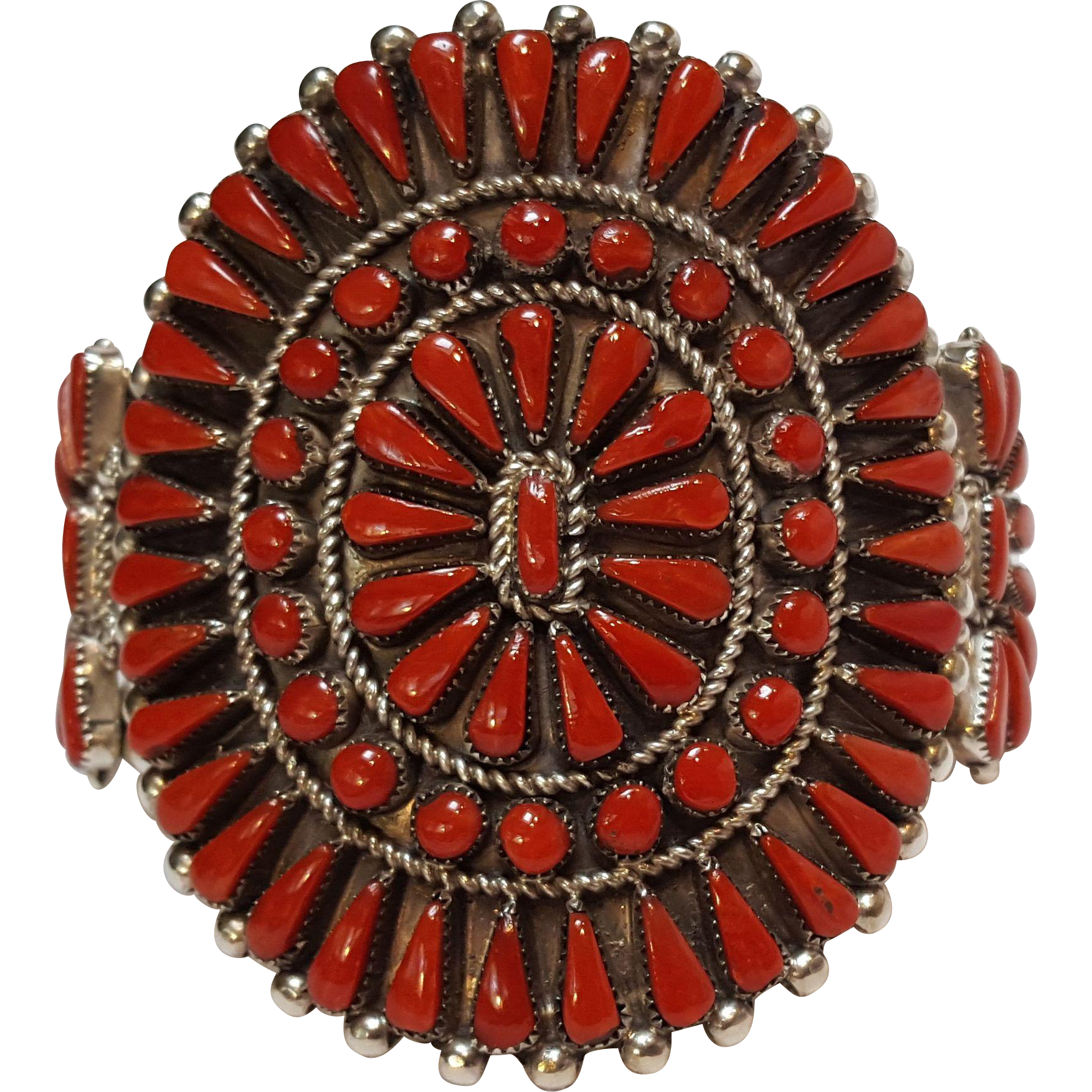 Bernall Natewa Zuni red coral cluster cuff bracelet sterling petit point needle point