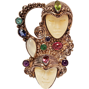 Sajen sterling two faced Goddess pin pendant