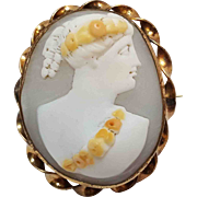 Antique cameo pin Roman lady with floral head band and sash