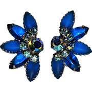 Blue clip earrings glass cabochon navette and rhinestone