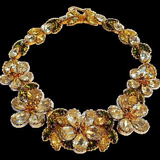 Schoffel Austria rhinestone flower cluster collar necklace