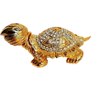 Marvella turtle pin rhinestone