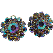 Weiss blue aurora borealis rhinestone clip earrings