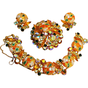 Juliana Easter egg parure orange green