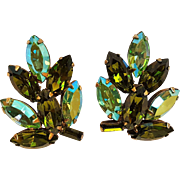 Rhinestone clip earrings green navette