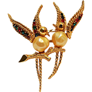 Boucher 8087P love birds pin simulated pearl rhinestone