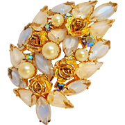 Weiss brooch roses blue givre glass simulated pearls
